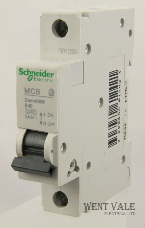 Schneider Domae - DOM40B6 - 40a Type B Single Pole MCB New